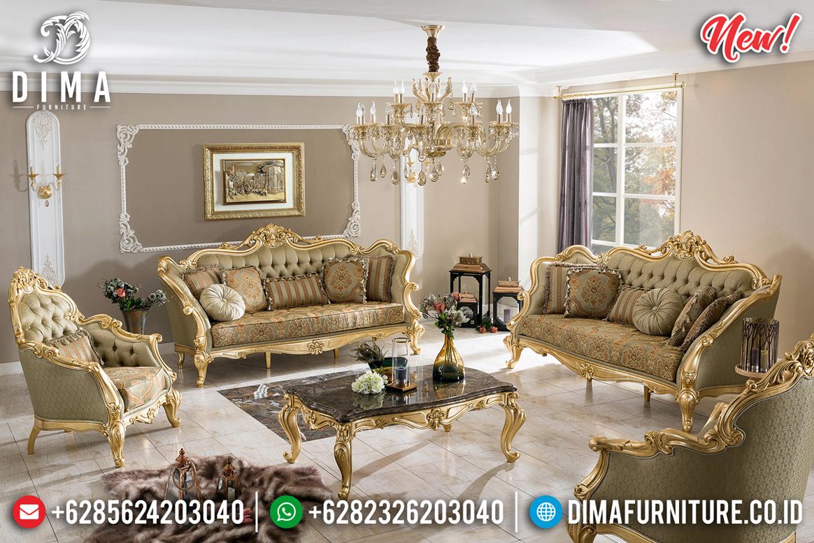 Koltuk Sofa Tamu Mewah Golden Leaf Luxury Carving Furniture Jepara MMJ-0695