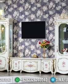 Luxury Style Meja TV Putih Mewah Best Collection Dima Furniture Jepara MMJ-0739