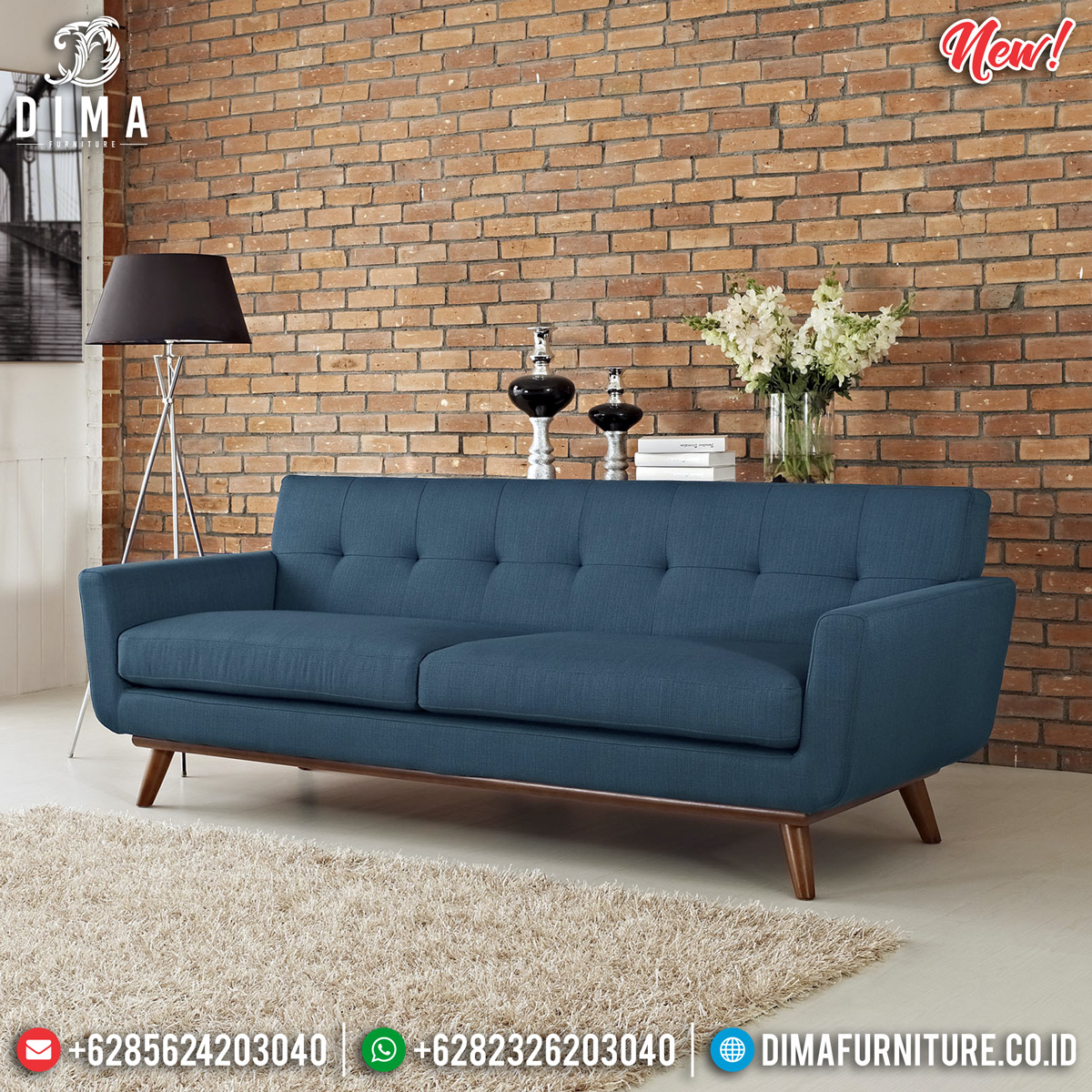Model Sofa Minimalis Jati Natural Blue Navy Velvet Design Klasik Absolute MMJ-0762
