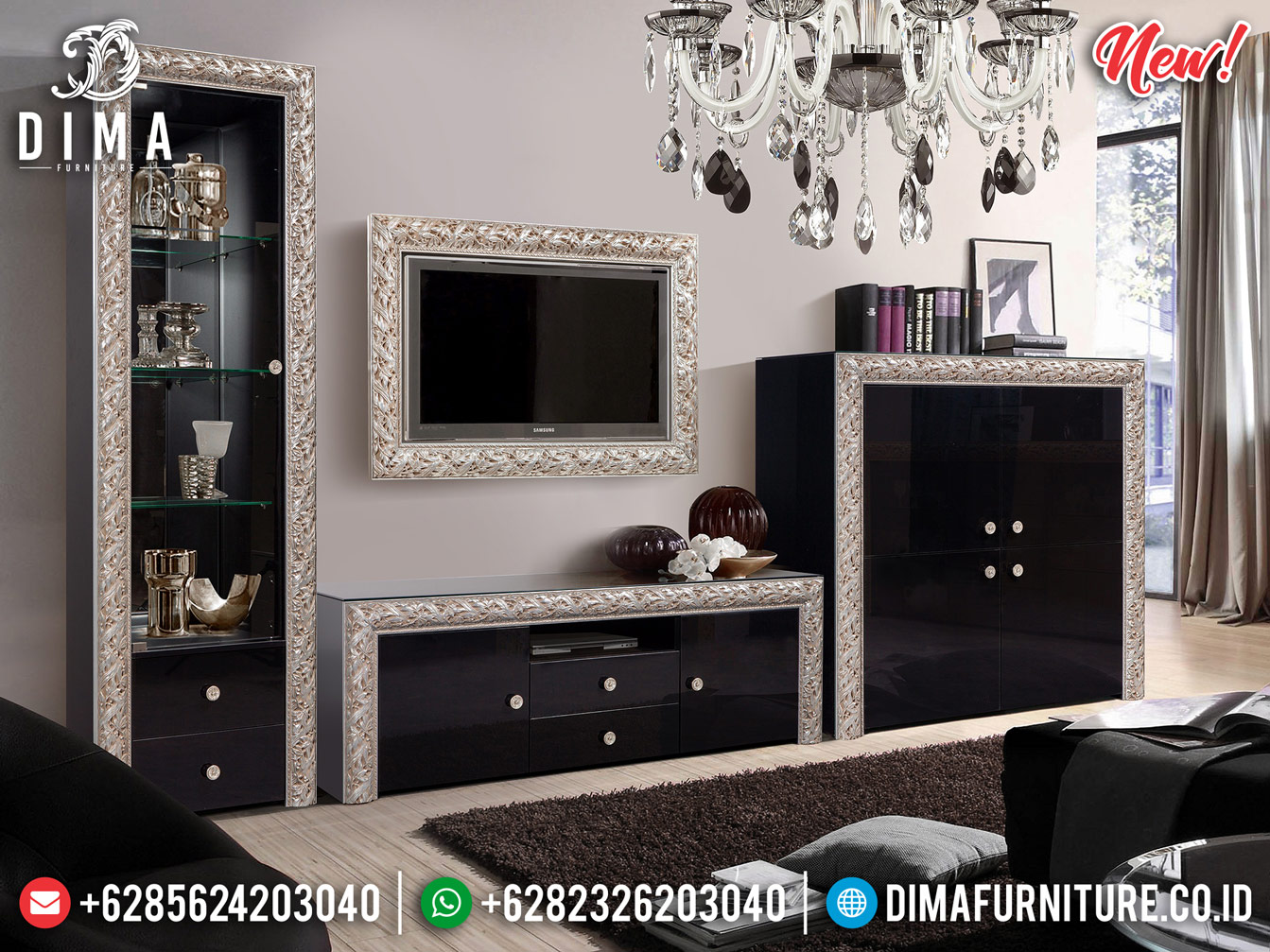 New Bufet TV Minimalis Modern Jepara Desain Luxury Elegant Furniture MMJ-0742