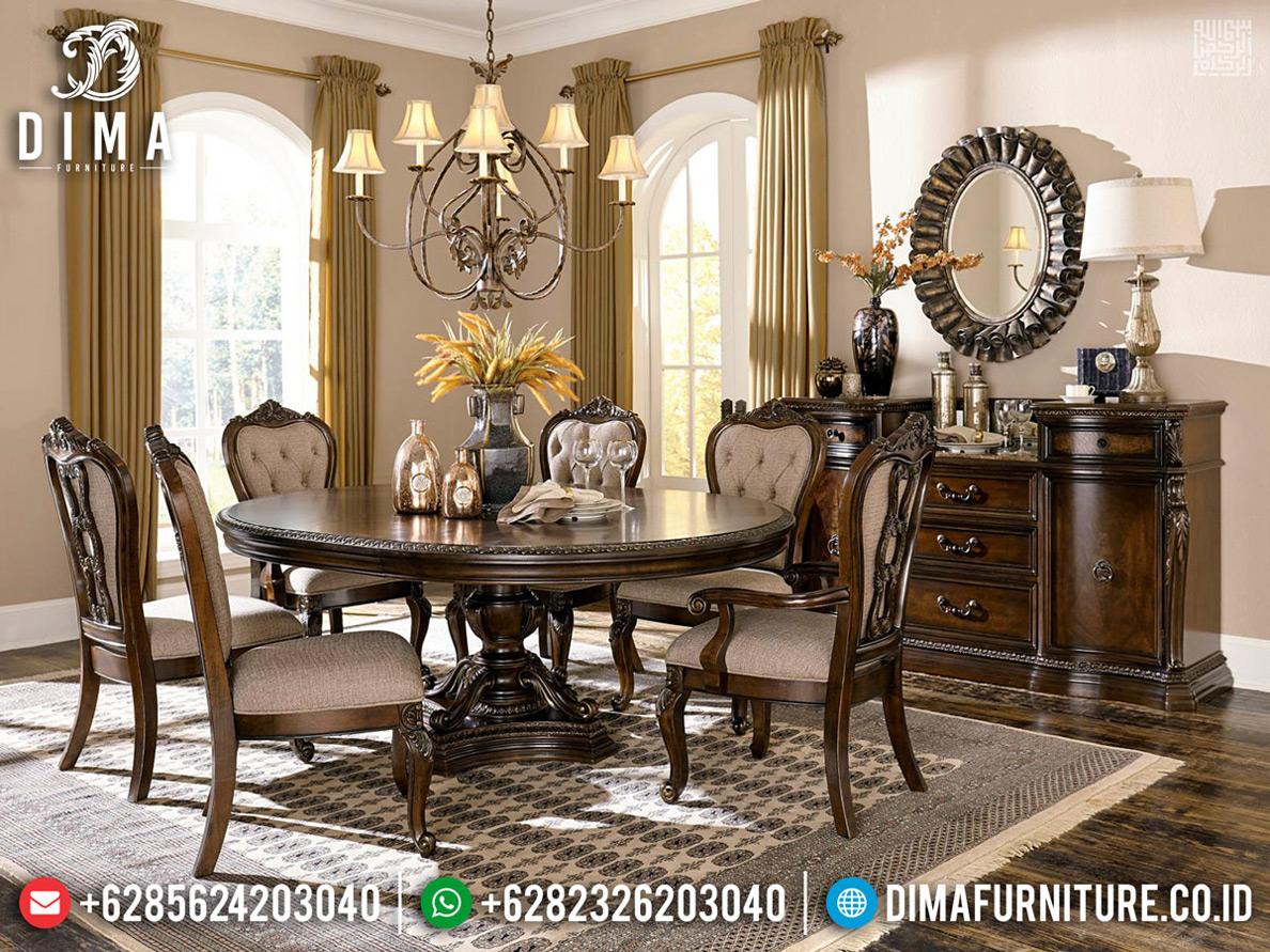 New Models Meja Makan Klasik Jati Natural Auburn Furnitur Jepara Klasik MMJ-0718