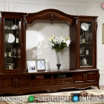 Set Bufet TV Mewah Klasik Eropa Natural Jati New Gorgeous Interior MMJ-0795