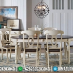 Set Meja Makan Jati 6 Kursi Minimalis Rustic French Style Furniture MMJ-0709