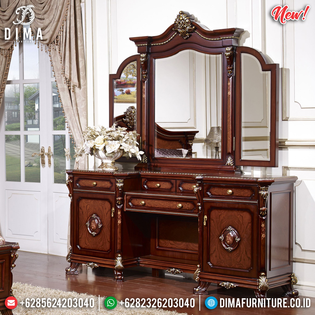 Set Meja Rias Mewah New Luxury Carving Vanity Room Beautiful Design MMJ-0824