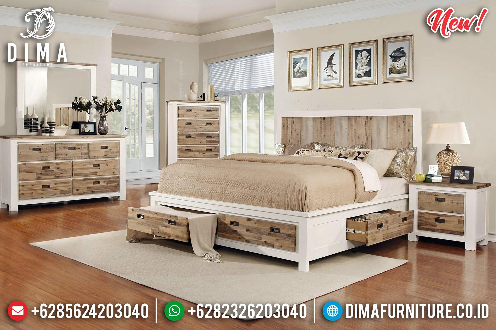 Tempat Tidur Minimalis Modern Putih Duco Kombinasi Natural New Design 2020 MMJ-0743