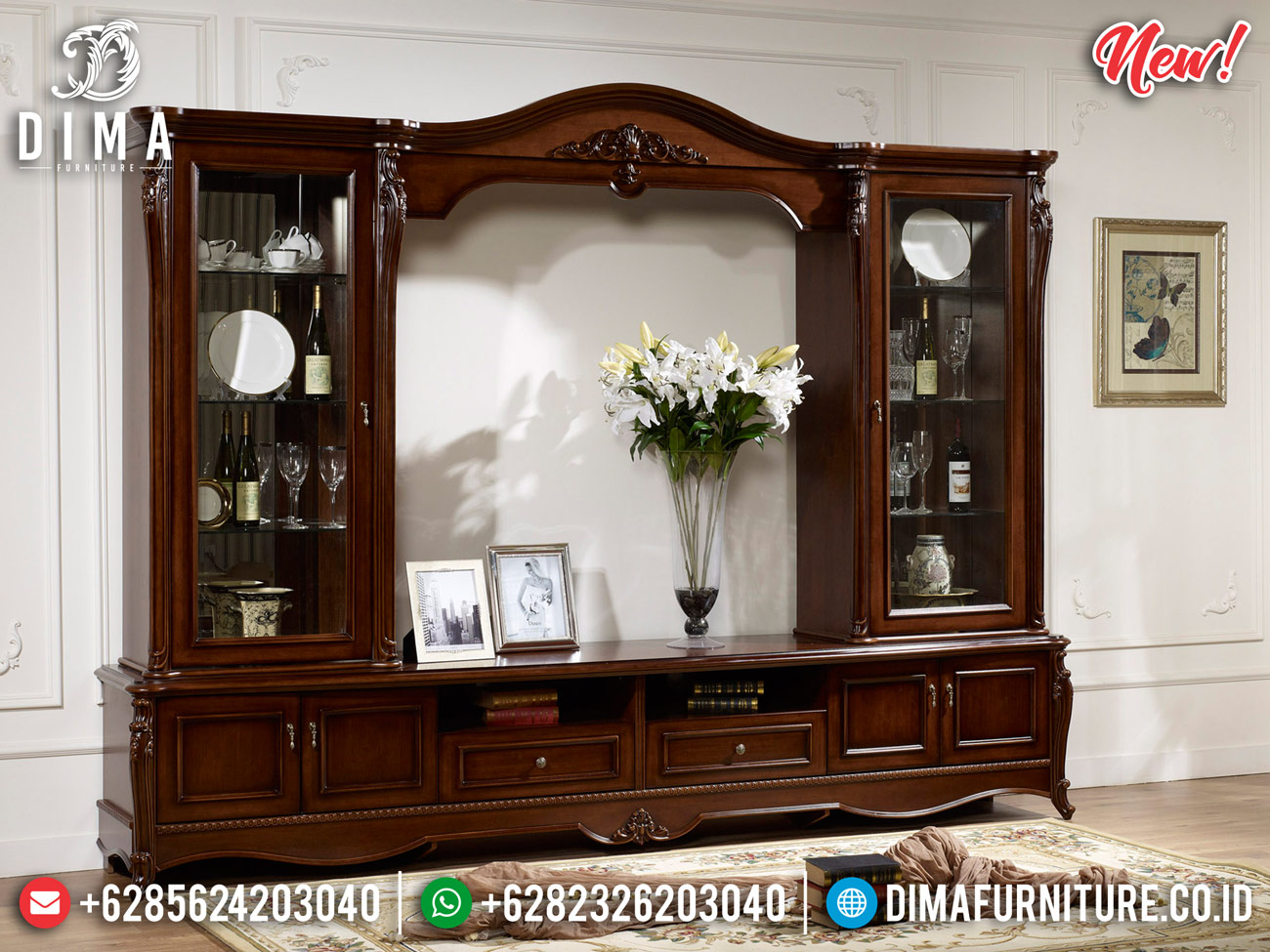 Unique Desain Bufet TV Mewah Jati Natural Luxury Classic Best Sale MMJ-0830