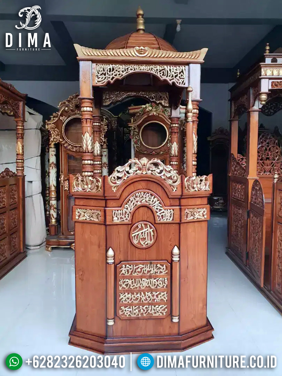 Best Seller Mimbar Masjid Kubah Kaligrafi Surat Al Ikhlas New Model MMJ-0845