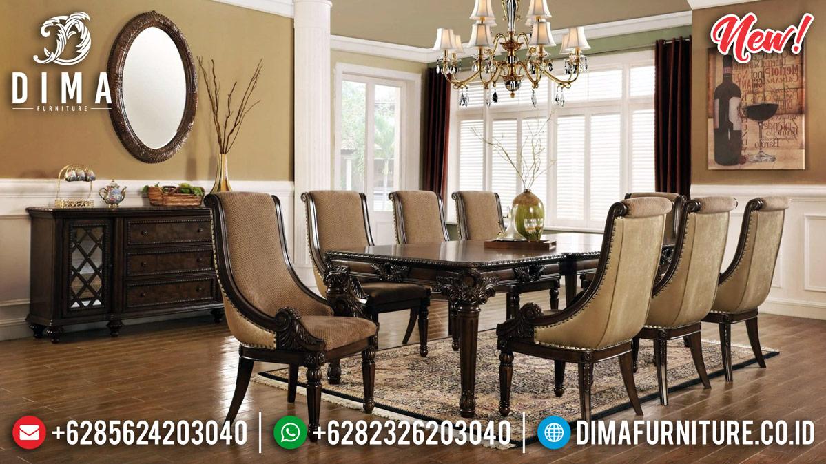 Jual Meja Makan Jati Klasik Natural Minimalist Design Luxury Carving Jepara MMJ-0886