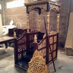 Mimbar Masjid Jati Jepara Natural Classic Ukiran Luxury Kaligrafi MMJ-0853