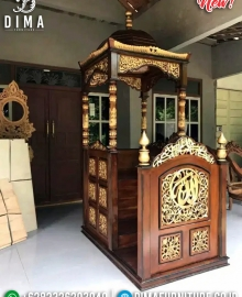 Mimbar Masjid Kubah Murah Desain Ukiran Luxury Mewah Great Wood MMJ-0846