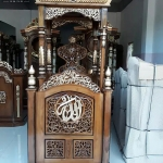 Mimbar Masjid Jati Jepara New Golden Combine Color Natural Salak MMJ-0843