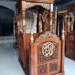 New Mimbar Masjid Jati Ukiran Arabian Muskhaf Luxury Carving Jepara MMJ-0840