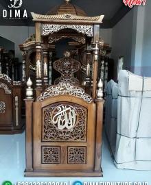 New Model Mimbar Masjid Kubah Jepara Luxury Ukiran Kaligrafi Natural Kombinasi MMJ-0848