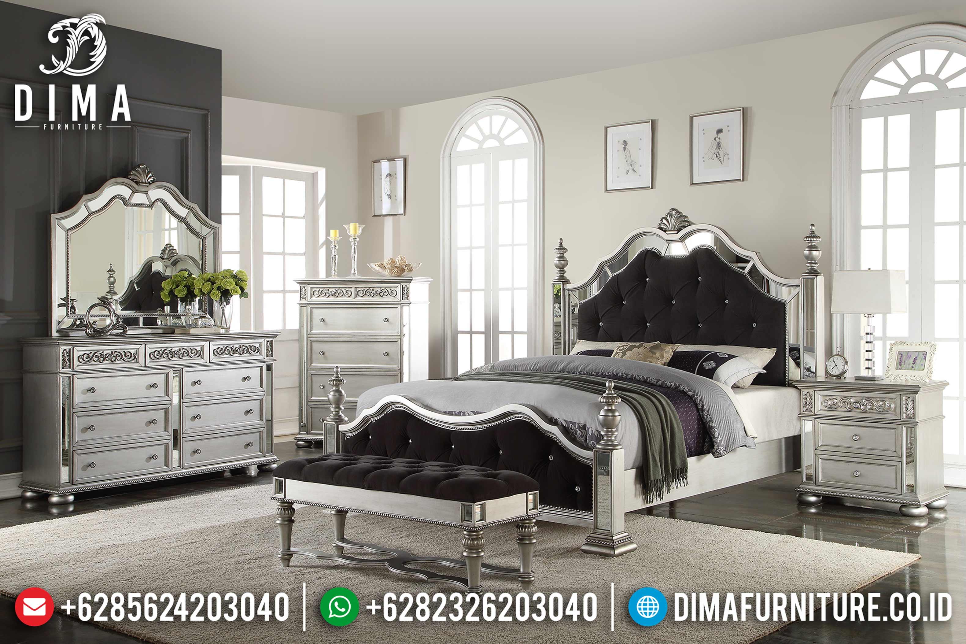 Jual Set Tempat Tidur Mewah Jepara Minimalis Mirror Duco Silver MMJ-0001