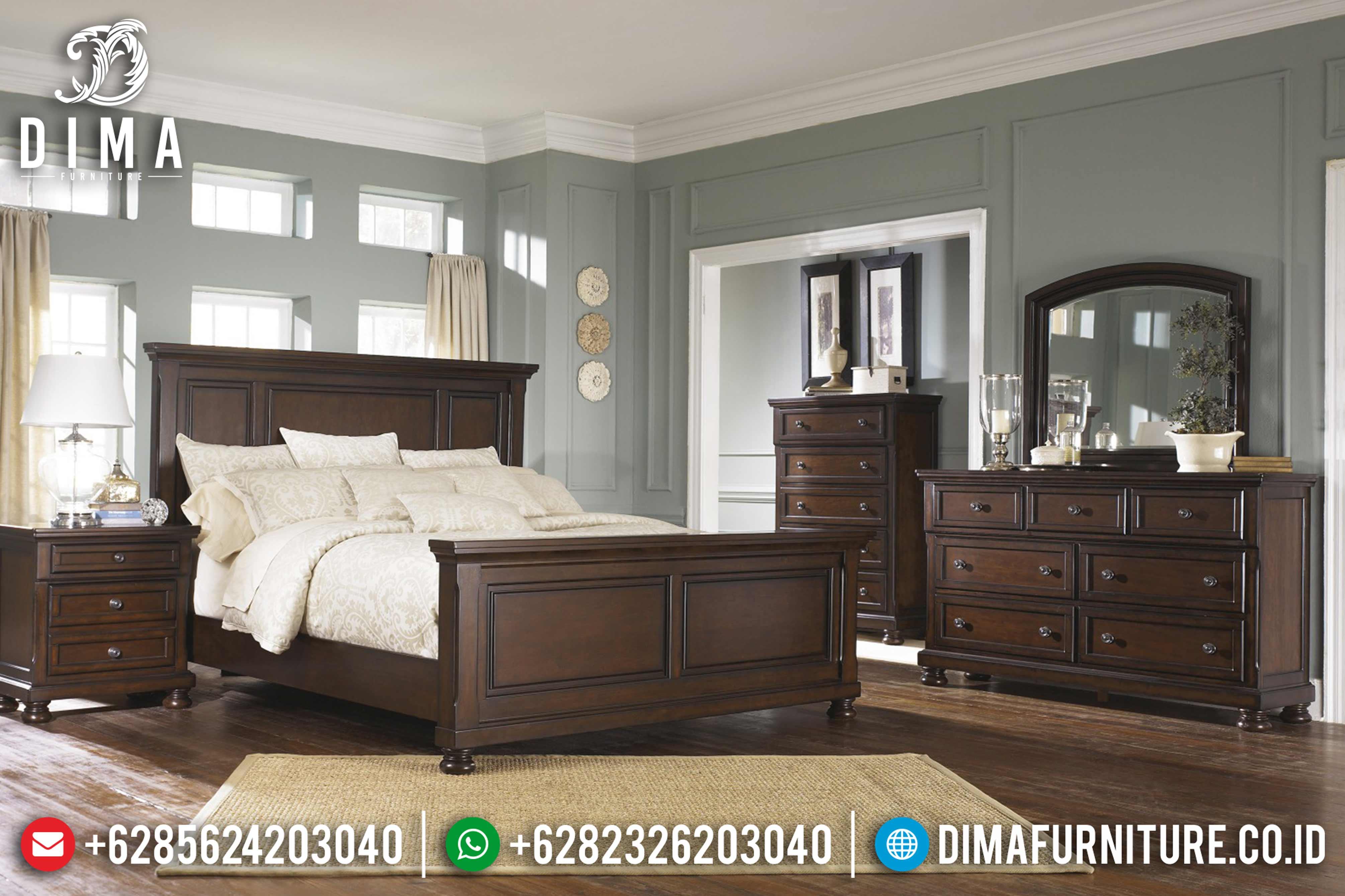 Jual Set Tempat Tidur Mewah Jepara Model Minimalis Terbaru Finishing Salak MMJ-0004