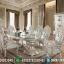 Meja Makan Mewah Ukiran Jepara Klasik Duco Silver Terbaru Royal MMJ-0008