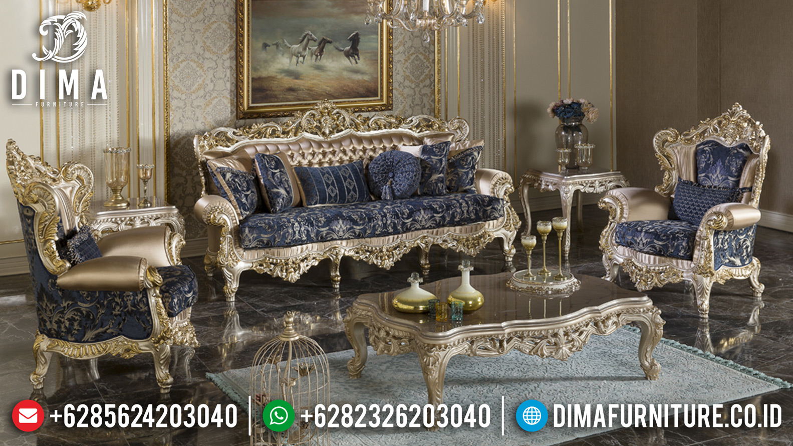 Living Room Furniture Set Sofa Tamu Jepara Mewah Ukir Klasik Lunema MMJ-0043