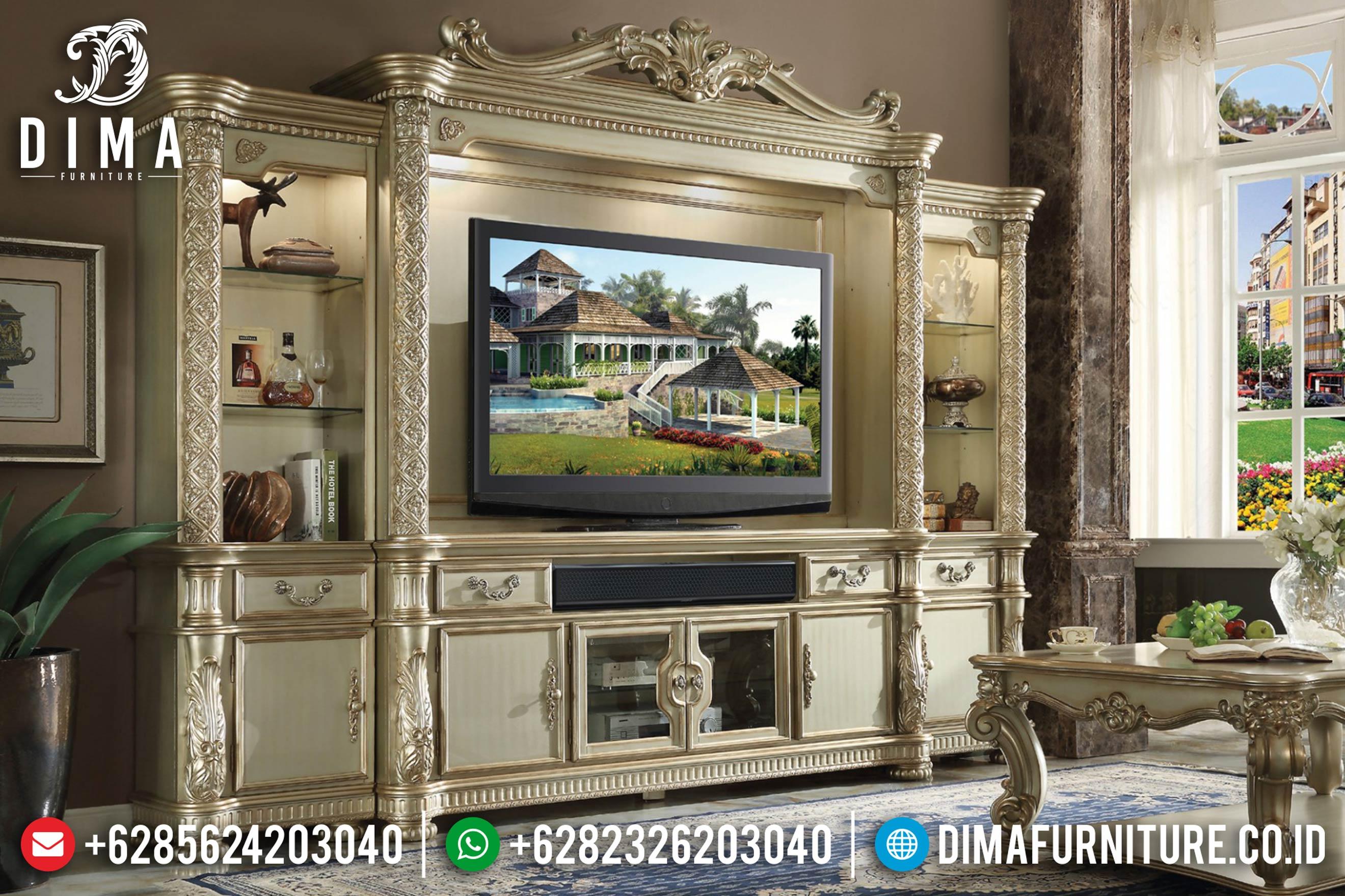 Model Bufet TV Mewah Jepara Ukir Klasik Vendom Terbaru Duco MMJ-0015