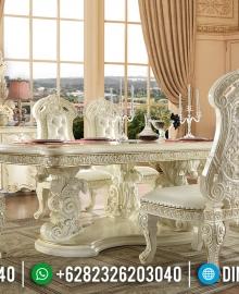 Set Meja Makan Jepara Ukir Mewah Duco Putih MMJ-0099