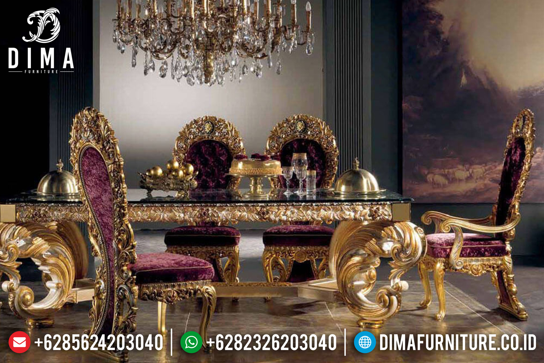 Set 4 6 8 Kursi Meja Makan Jepara Mewah Ukir Gold Leaf MMJ-0154