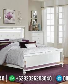 Tempat Tidur Jepara Minimalis White Duco Paint LED MMJ-0180