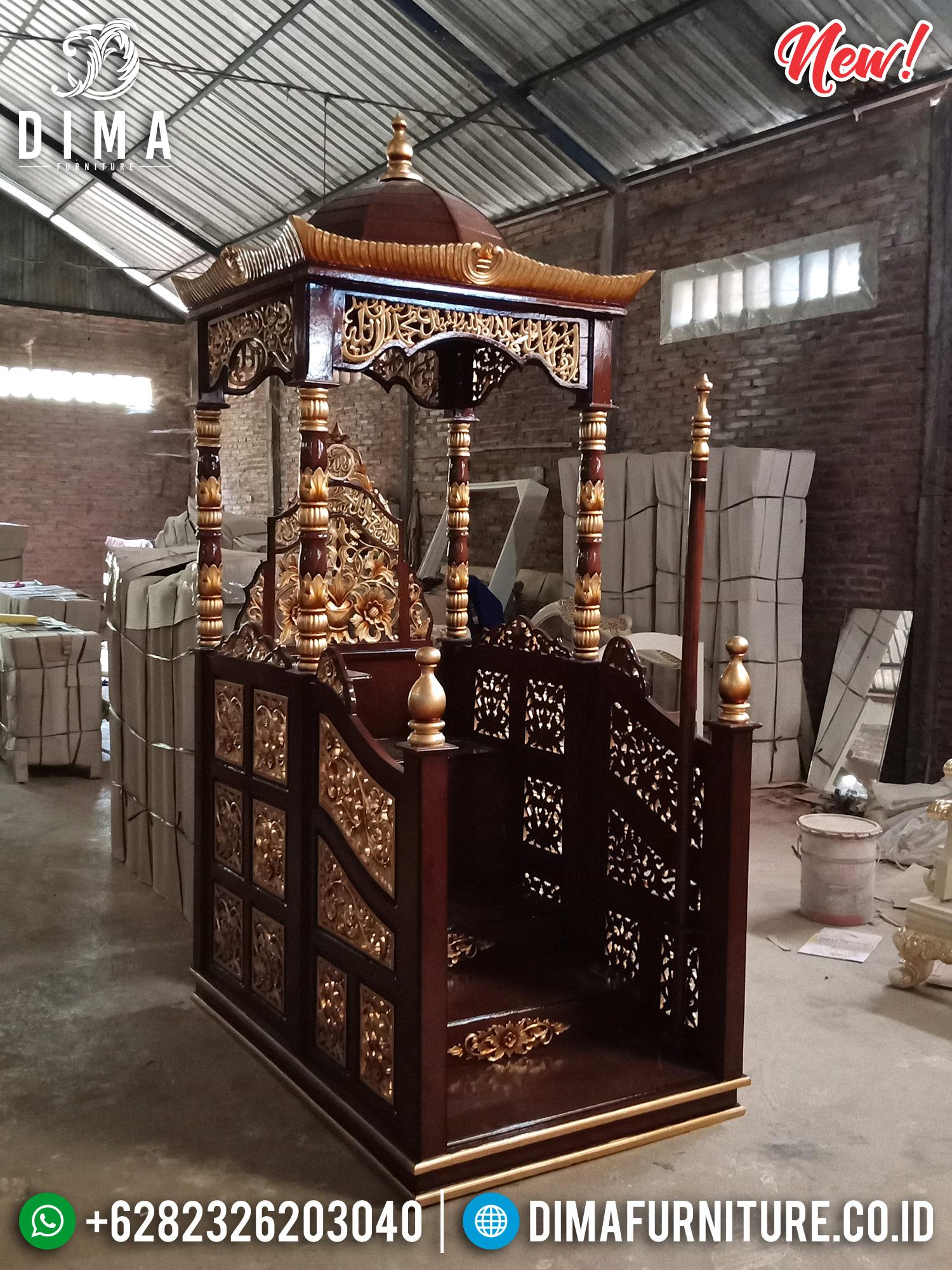 Mimbar Jati Jepara Ukiran Gold Natural PU MMJ-0202