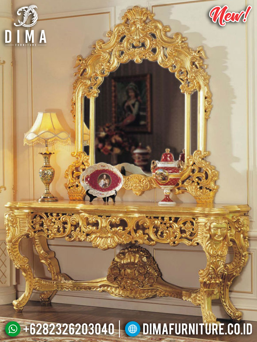Desain Termewah Meja Konsol Golden Luxury Ukiran Klasik Jepara MMJ-0302