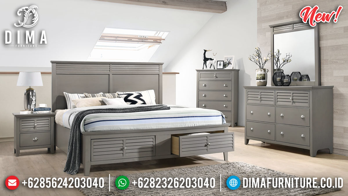 Jual Kamar Set Minimalis Modern Tipe Laci Duco Grey MMJ-0268