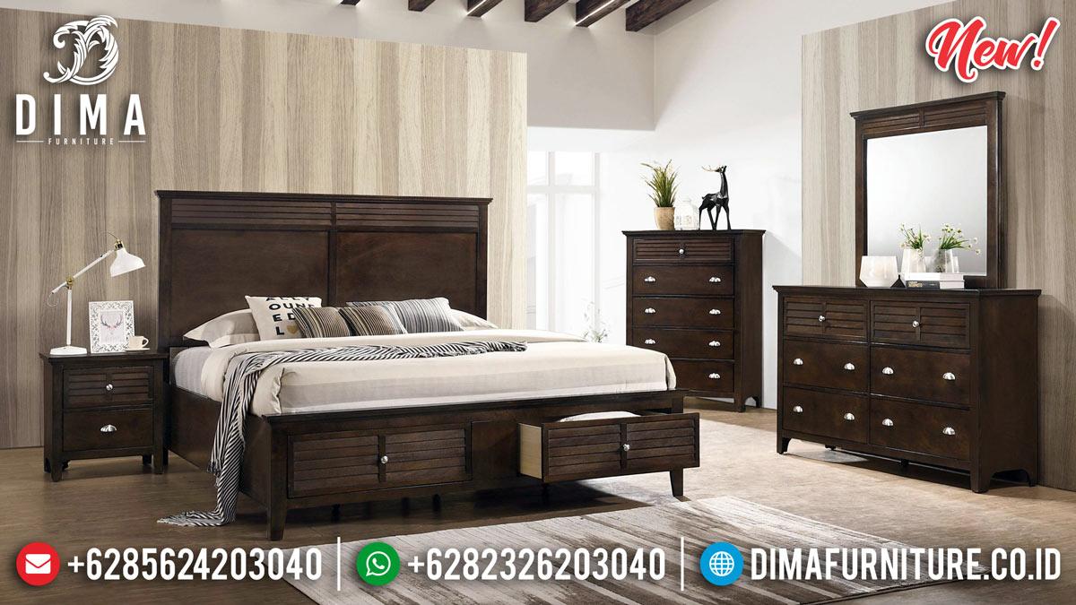 Tempat Tidur Minimalis Laci Natural Jati MMJ-0267