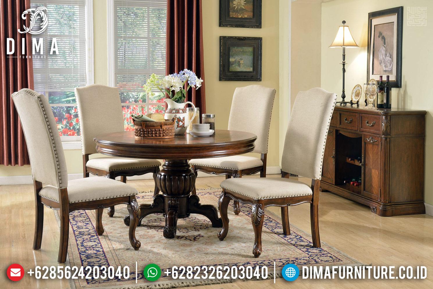 Meja Makan Bundar Jati Natural Brown Salak New Design 2020 MMJ-0381