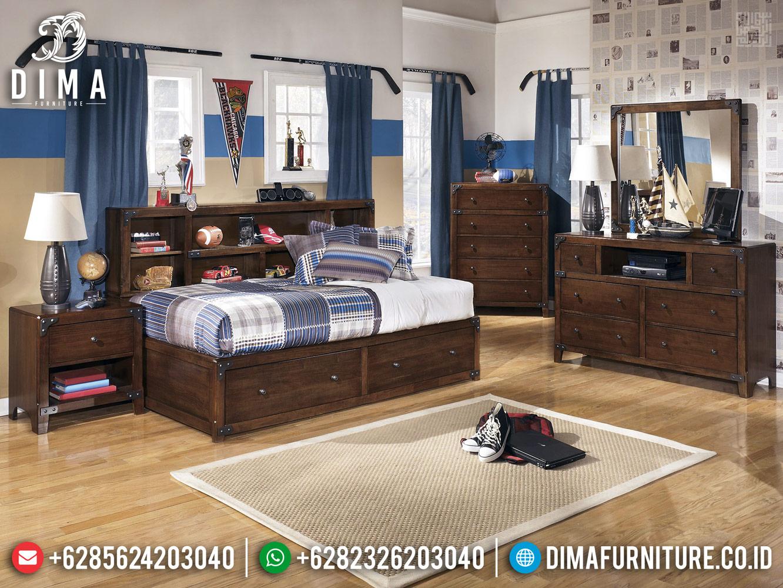 Furniture Jepara Tempat Tidur Anak Natural Jati TPK Model Laci MMJ-0434