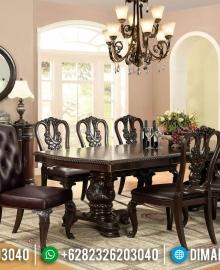 Harga Meja Makan Mewah Jati Natural Dark Brown Furniture Jepara Asli MMJ-0412