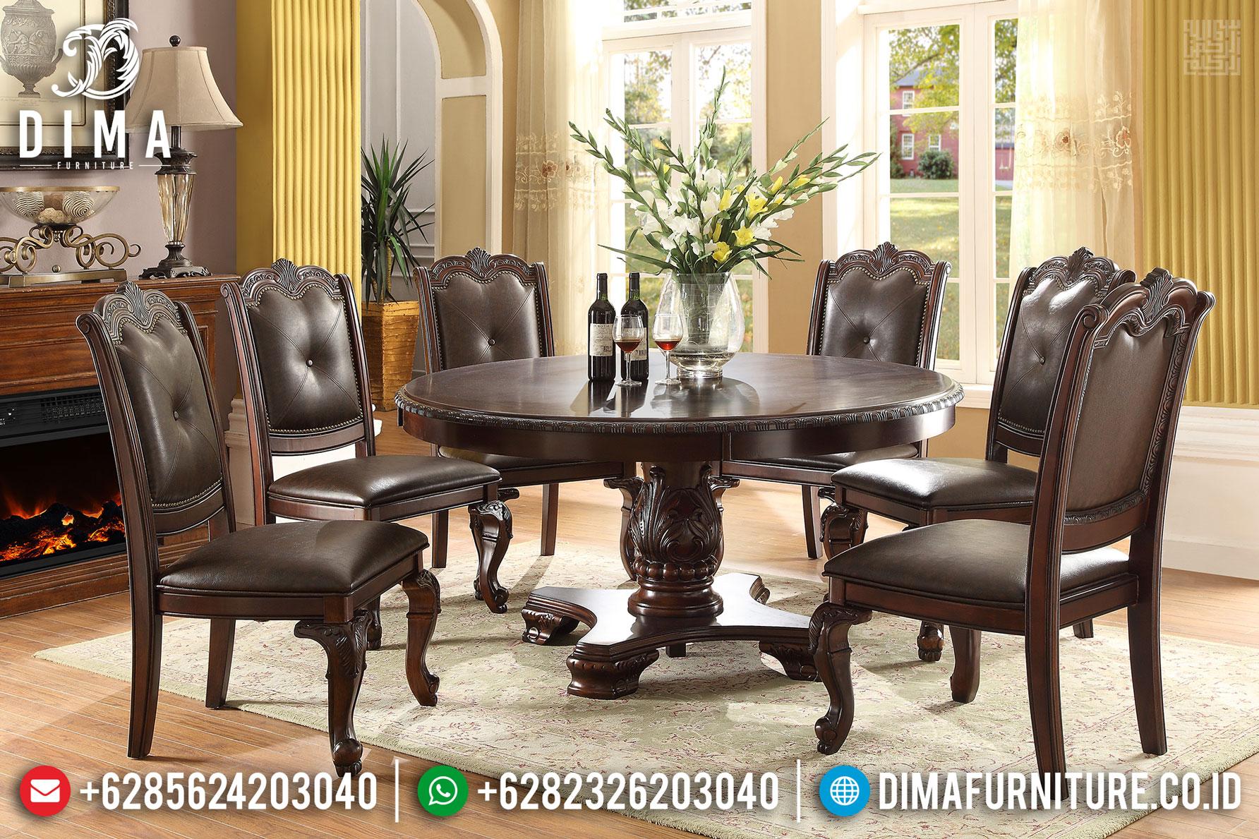 Jual Set Meja Makan Bundar Jati Natural Classic Furniture Jepara Termurah MMJ-0417