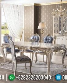 New Furniture Jepara Meja Makan Mewah Snow White Glossy MMJ-0402