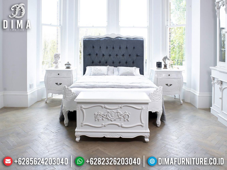 Tempat Tidur Mewah Duco Putih Ukiran Jepara Murah Meriah MMJ-0462