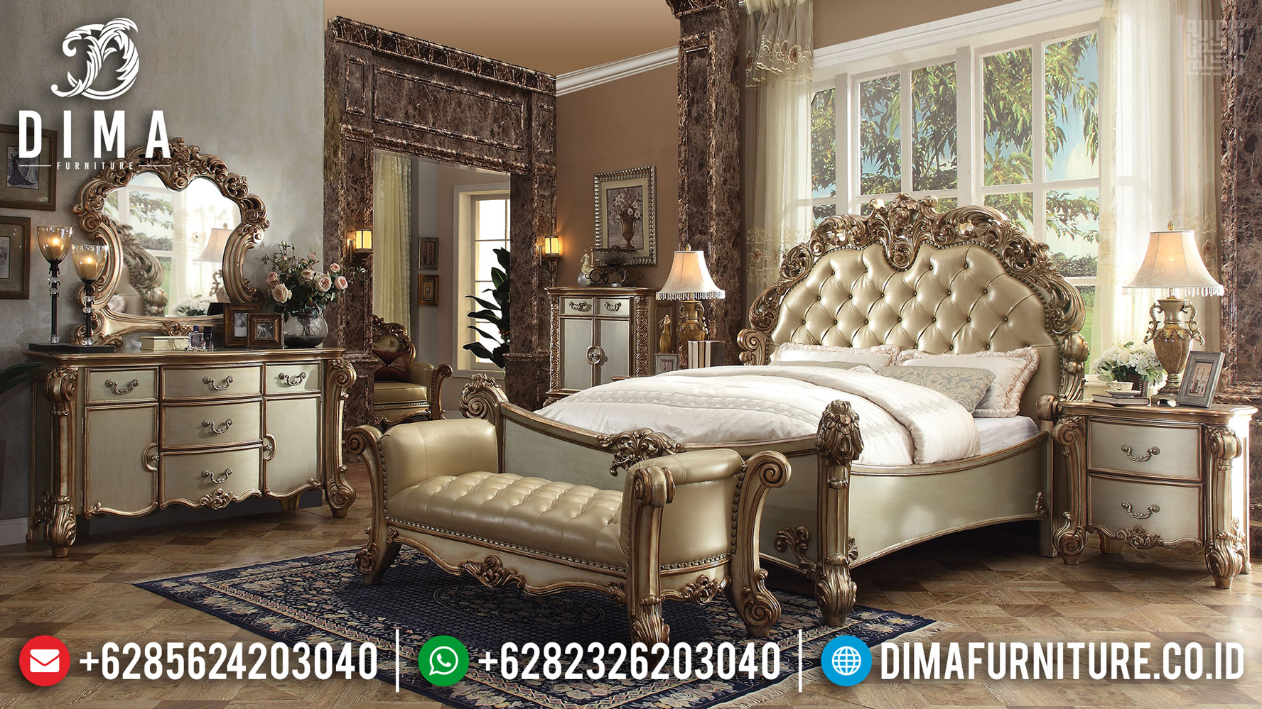 Tempat Tidur Mewah Ukiran Jepara, Bedroom Sets Luxury Carving, Kamar Set Superior Luxury Carving MMJ-0425