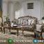 Jual Sofa Tamu Ukiran Mewah Jati Natural Classic Kombinasi Emas MMJ-0576