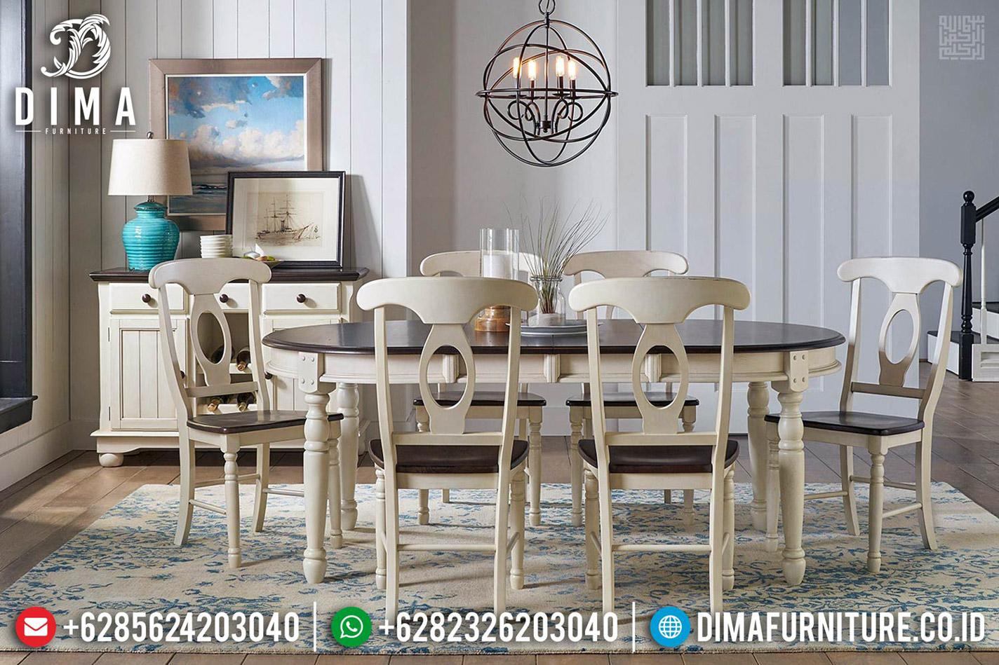 Meja Makan Jati Klasik Rustic White Broken New Design Minimalis Jepara MMJ-0550