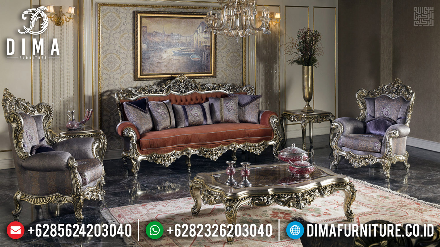 Furniture Jepara Sofa Tamu Mewah Luxury Classic New Design Get Sale MMJ-0597