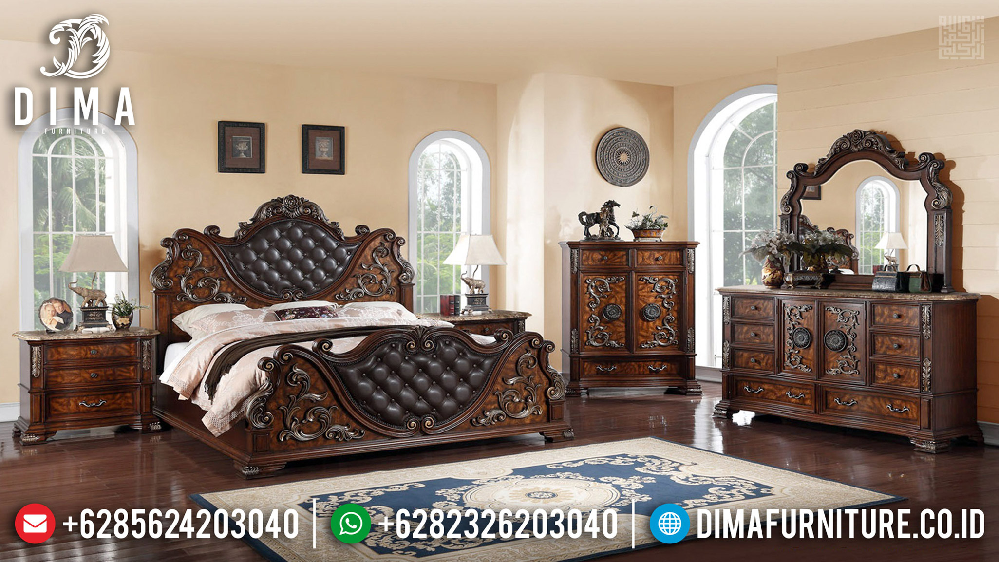 Jual Kamar Set Mewah Jati Natural Antique Furniture Jepara MMJ-0609