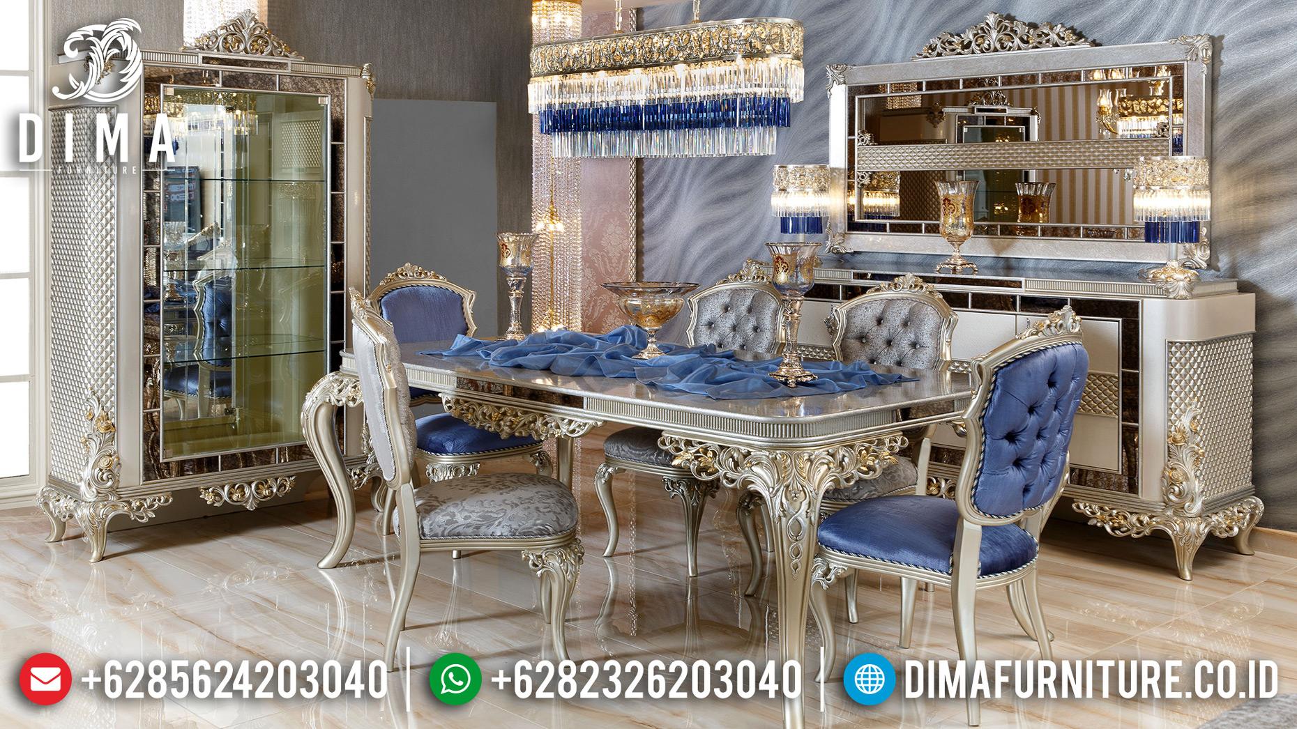 Jual Meja Makan Mewah Ukiran Klasik Type Luxury Silver Champagne MMJ-0632
