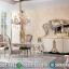 Meja Makan Mewah White Duco Combine Color New Luxury Carving Jepara MMJ-0647