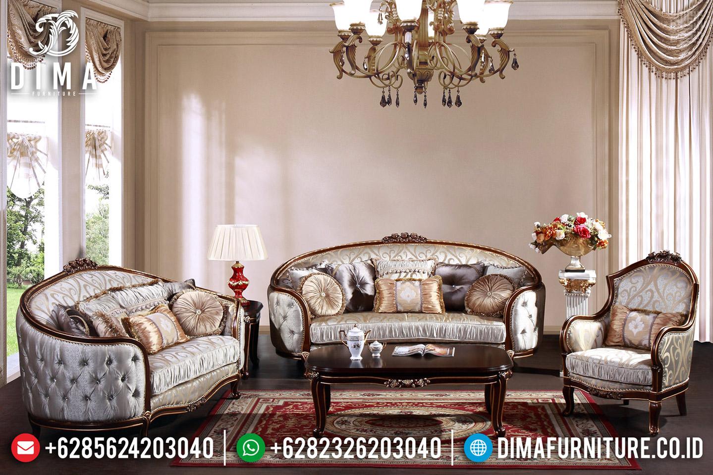 Sofa Tamu Mewah Ukiran Natural Salak Brown Classic Furniture Jepara MMJ-0591