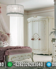 Tempat Tidur Mewah Jepara Beauty Design White Duco Combination MMJ-0655