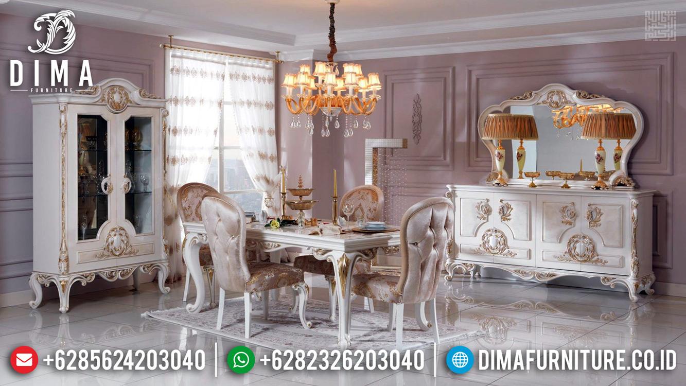 Meja Makan Mewah Jepara Solid Wood Mahogany Perhutani Luxury Carving Art MMJ-0677