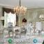 Meja Makan Mewah Jepara Ukiran Klasik Luxury New White Duco Glossy MMJ-0663