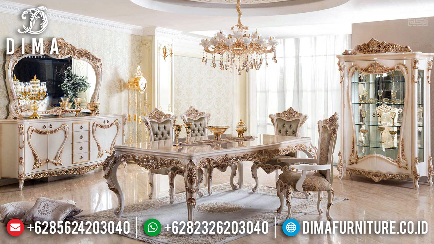 New Models Meja Makan Mewah Ukiran Leaf Golden Relief With White Duco Based Color MMJ-0682