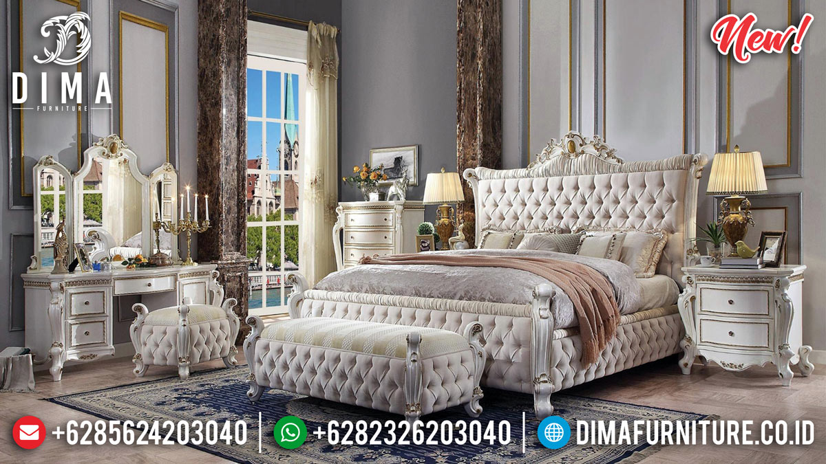 Classic Luxury Tempat Tidur Mewah Ukiran Jepara New White Duco Combine MMJ-0790