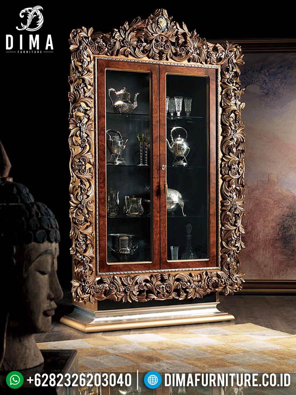 Great Art Lemari Hias Mewah Luxury Classic Golden Relief Furniture Jepara Interior MMJ-0754