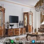 New Bufet TV Mewah Jati Natural Classic Salak Brown Walnut Color MMJ-0827
